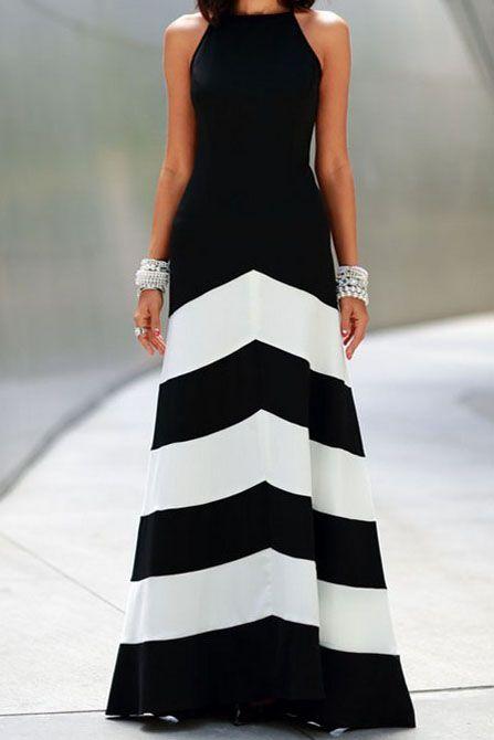 Black White Striped Sleeveless Maxi Dress
