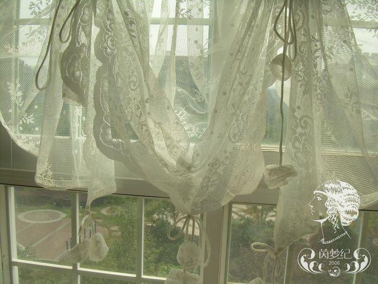 BALLOON DRAPERY PANEL   ... PC European White Lace Curtain Panel Drape Sheer Voile Balloon Curtain