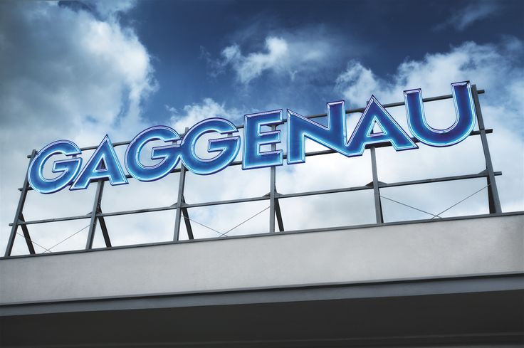 2 metres high and 15 metres wide, the Gaggenau logo in illuminated iconic blue lettering looks down from the Lipsheim factory in Alsace.