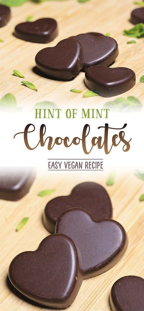 Easy, 'Hint of Mint' Chocolate Hearts - all vegan, dairy-free super delicious and made with coconut sugar.