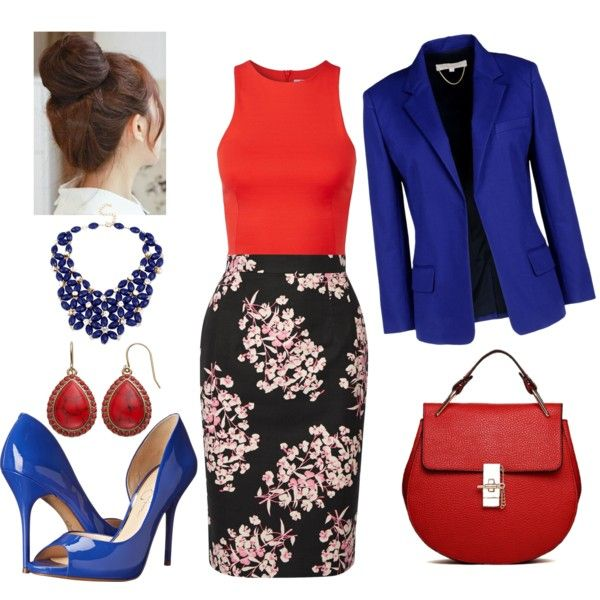 Office in Black, Cobalt and Ruby by veradediamant on Polyvore featuring polyvore, moda, style, T By Alexander Wang, Vanessa Bruno, Jonathan Saunders, Jessica Simpson, Chaps and Pin Show