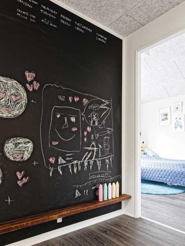 Fed idé: Lav en hel væg om til en legeplads af en tavle. - med masser af plads til tegninger og kreativitet nederst og planlægning allerøverst