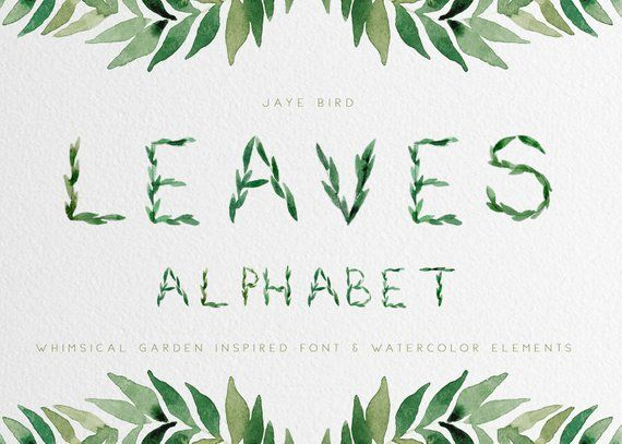 Watercolor Foliage Greenery Alphabet Numbers Leaves Branches Leafy for Wedding Invite clipart png
