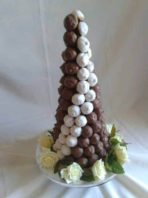 Chocolate croquembouche tower created by MJ for a 50th birthday party in the gorgeous Hawkes Bay wine country www.mjscakes.co.nz