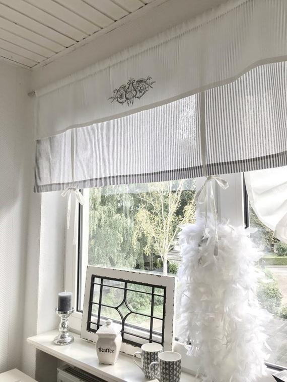 Roman shade curtain shabby striped grey O. Beige/W strips