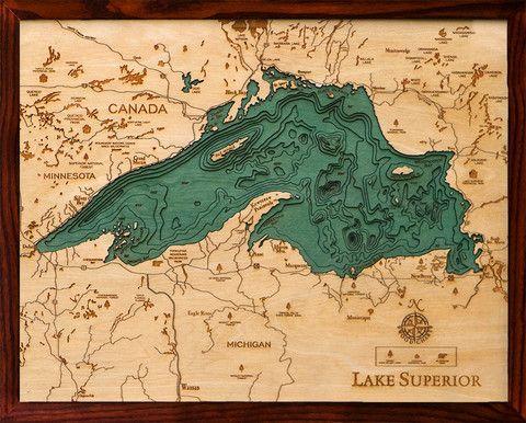 Laser cut wood relief lake maps. STUNNING! - Lake Superior
