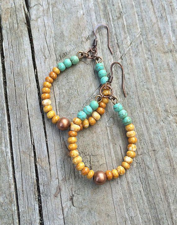 Boho Earrings Boho Jewelry Colorful Hoop Earrings by Lammergeier