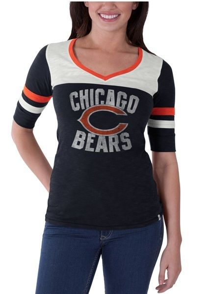 Chicago Bears 47 Brand Womens Gameday Debut V-Neck T-Shirt