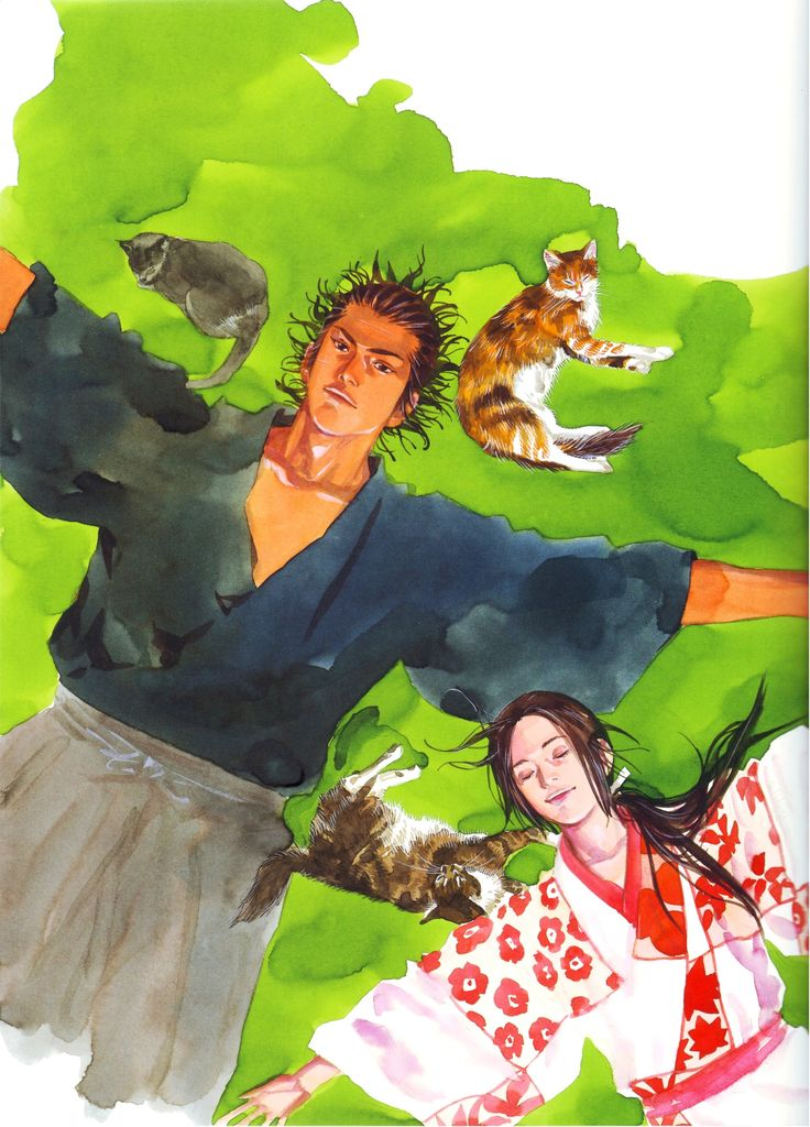 "Takehiko Inoue / 井上雄彦 — ( 1996 – Current ) ""Vagabond"" / ""バガボンド"" Illustration [ Miyamoto Musashi / 宮本武蔵 , Otsū / おつう ]"