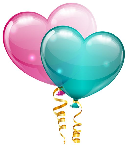 Pink and Blue Heart Balloons PNG Clipart Image