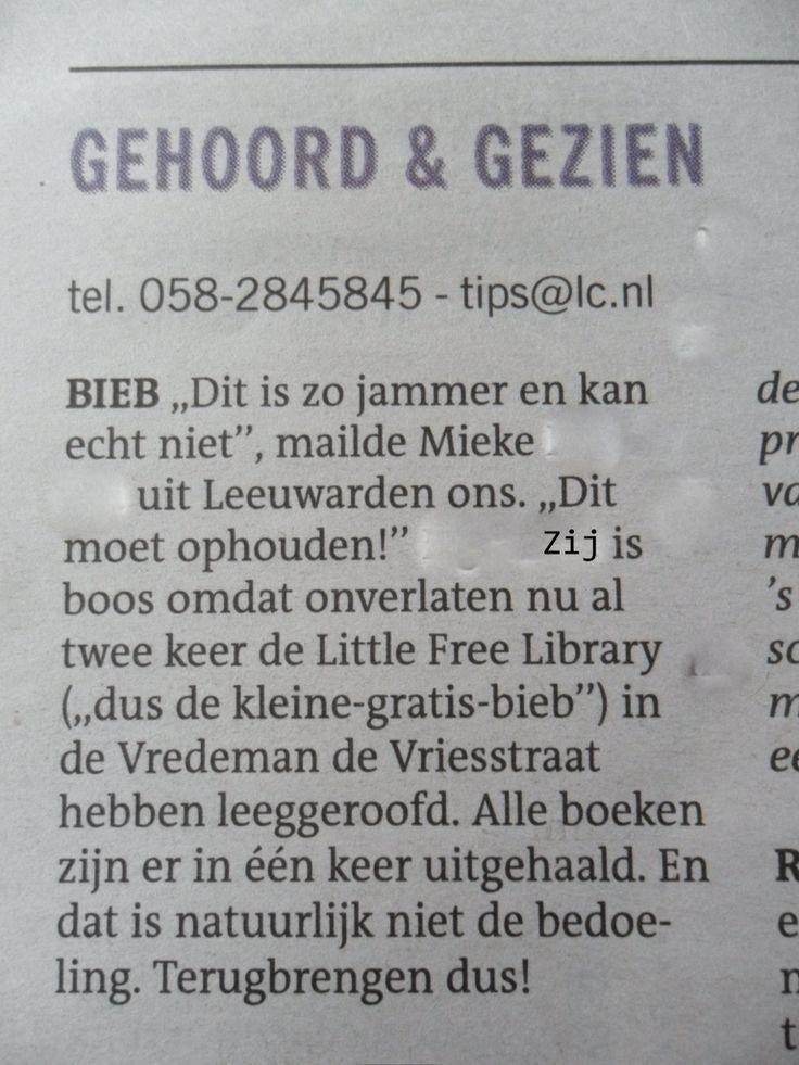 Stukje uit LC van 27-11-2015 over 'diefstal' LFL Vredeman de Vriesstraat.