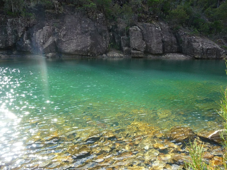 A short walk into Douglas Apsley National Park near Bicheno is this swimming hole in the river. Visit Tasmania.
