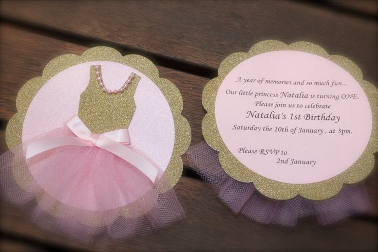 BALLERINA INVITATION Pink and Gold Tutu ballet by PoshMyParty