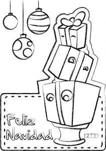 tarjetas de navidad para colorear regalos para nios