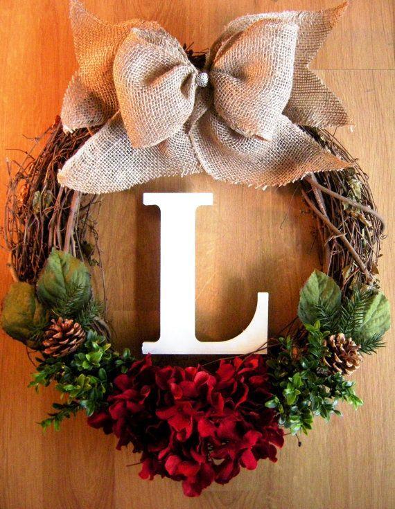 Christmas Wreath, Grapevine Wreath with Monogram, Hydrangea Wreath, Initial Wreath, Wreath for Door, Burlap Wreath, Holiday Wreath