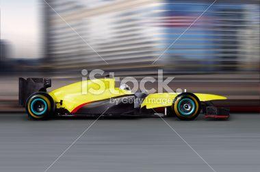 formula one car driving Royalty Free Stock Photo