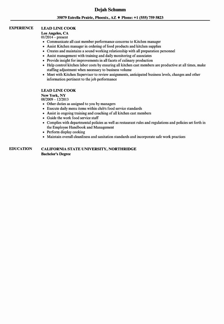 Line Cook Resume Examples New Lead Line Cook Resume