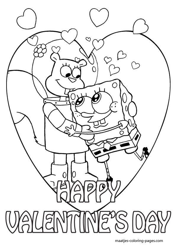 Spongebob Valentine Coloring Pages