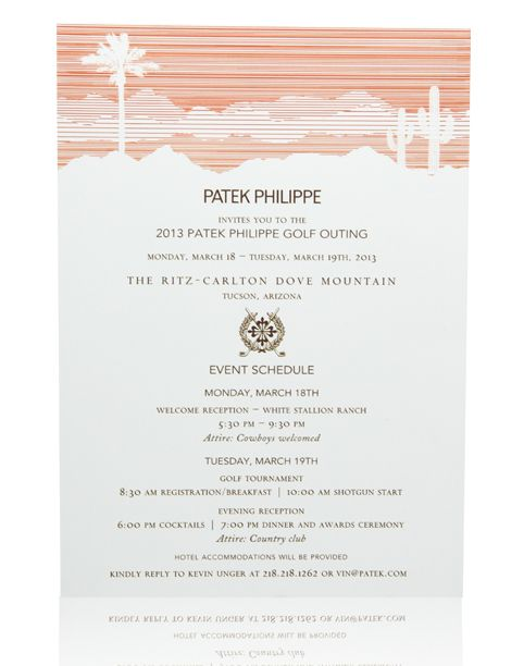 Ceci New York Corporate Retreat Invitation for Patek Philippe - Formal Business Invitation