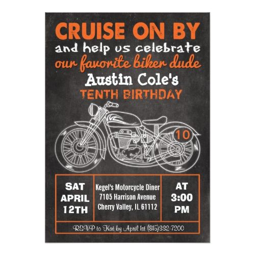 ANY AGE Motorcycle Birthday Chalkboard Invitation