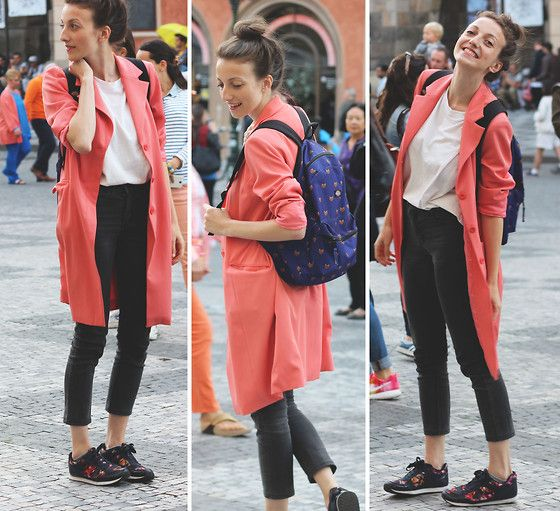 Ludmila  Andršová - Second Hand Trench Coat, H&M Sneakers, Dickies Backpack, Second Hand Tank Top - Old town square