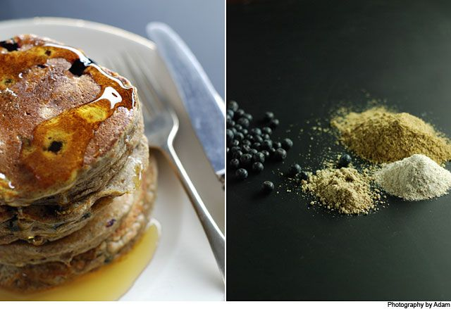 Blueberry Pancakes from Our Kitchen at Fisher & Paykel. Where possible ingredients have been substituted in a 'normal' pancake recipe for alternatives which are considered to be healthier, and the addition of the blueberries packs a fantastic nutritional punch.