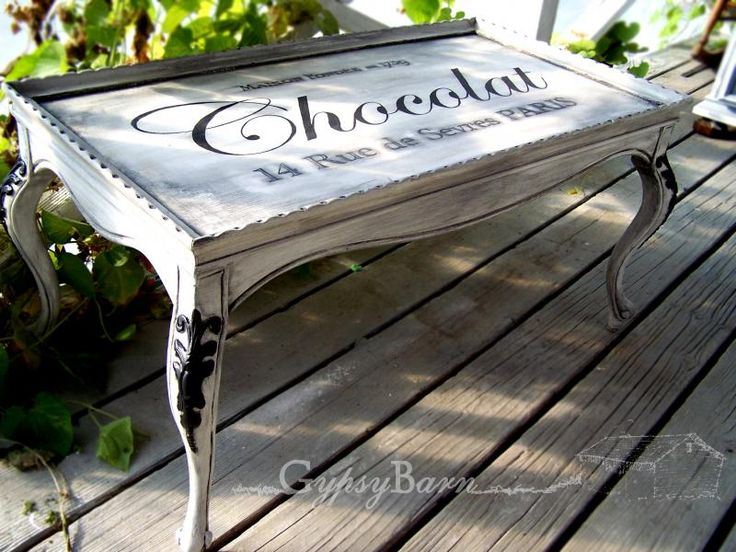 Chocolat table transformation by Gypsy Barn. Using stencils for the tops of repurposed items is awesome!