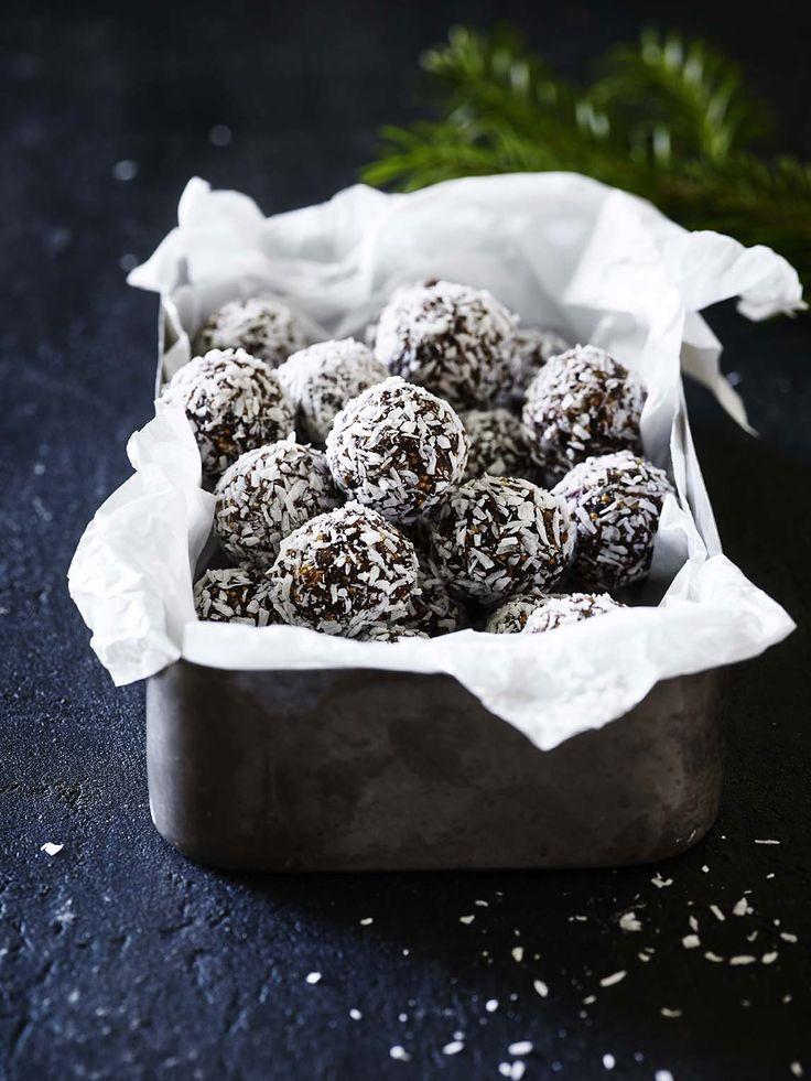 Figenkugler med kokos og chokolade
