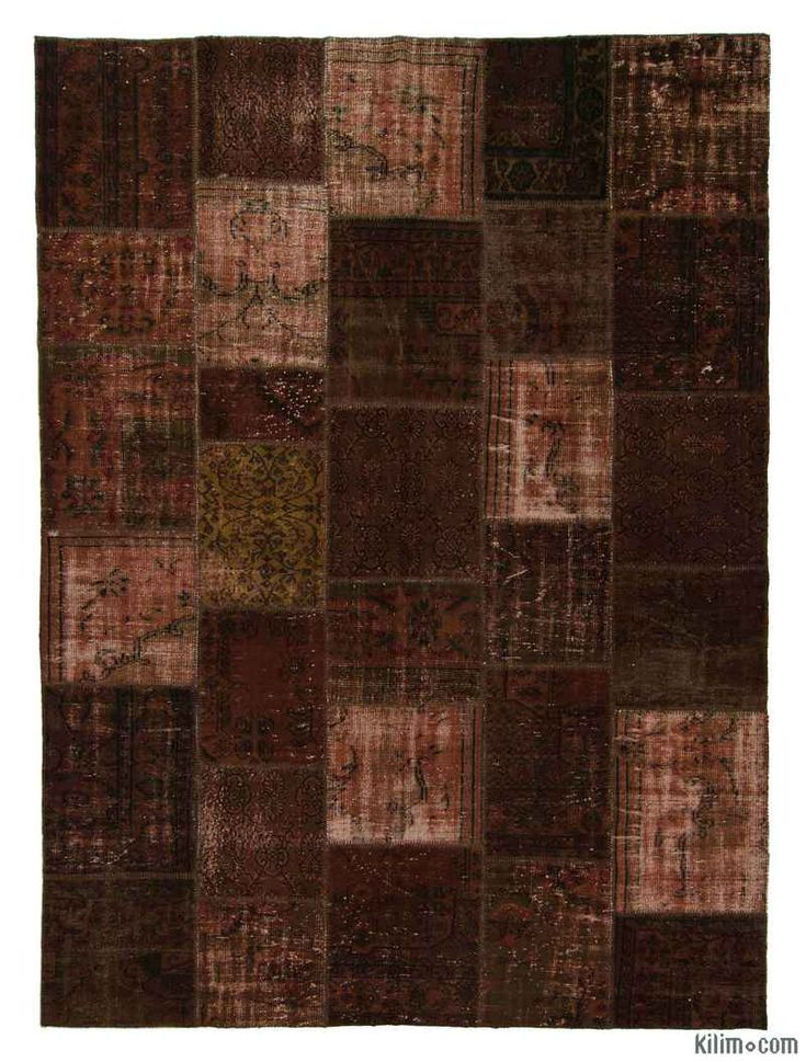 K0006142 Brown Over-dyed Turkish Patchwork Rug | Kilim Rugs, Overdyed Vintage Rugs, Hand-made Turkish Rugs, Patchwork Carpets by Kilim.com