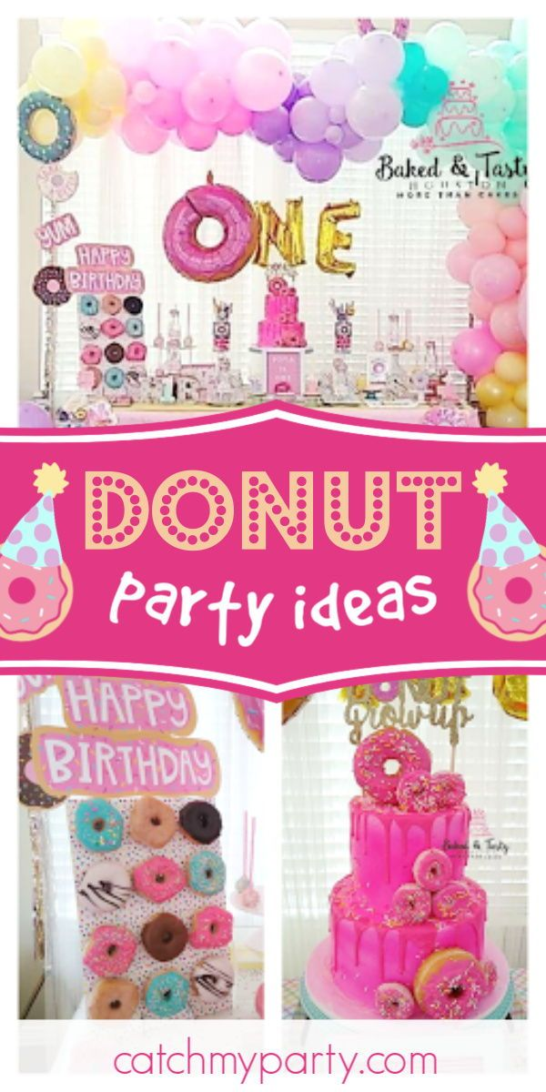 Donut Grow Up Birthday Sweet 1st Birthday Catch My Party In 2020 1st Birthday Party For Girls 1st Birthday Parties Girls Birthday Party Themes