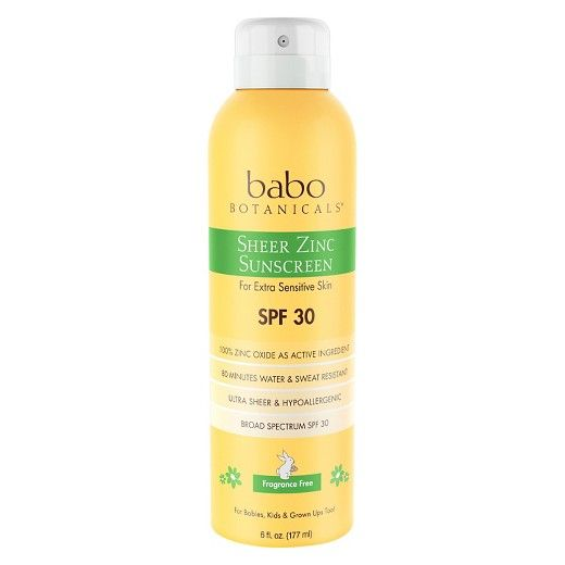 Babo Botanicals Sheer Zinc Sunscreen Spray SPF 30 6.0 oz : Target