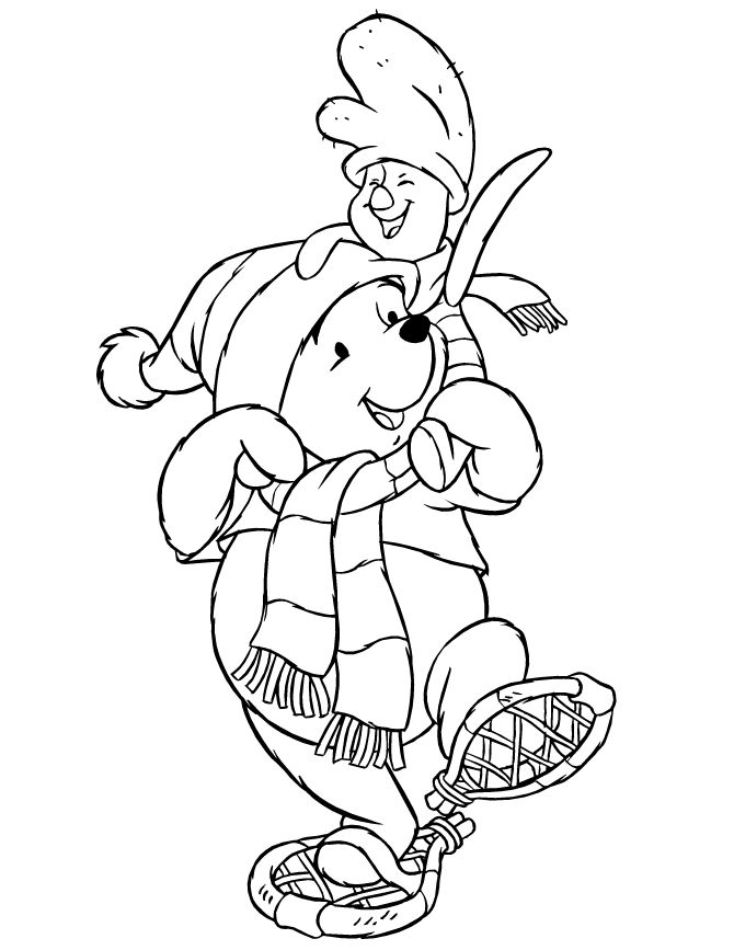 Disneys Pooh Bear And Piglet Winter Coloring Page