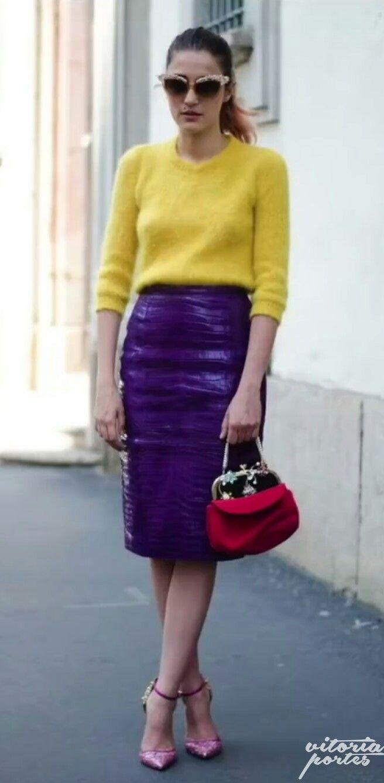 d5500222f Amarelo e roxo | Combinação de cores no look em 2019 | Cores ...