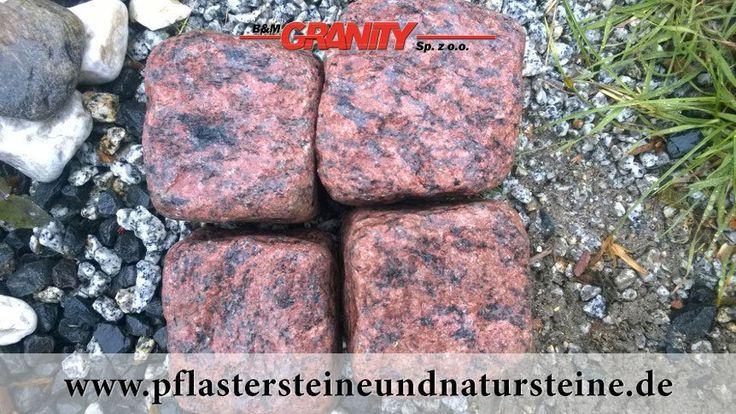 Firma B&M GRANITY - rote Pflastersteine aus schwedischem Granit, frostbeständige Vanga-Pflastersteine ohne scharfe Kanten, getrommelt, rustikal, veraltet...trockene oder nasse Steine... http://www.pflastersteineundnatursteine.de/fotogalerie/pflastersteine/