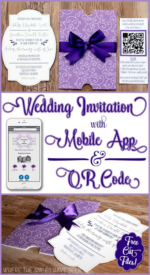 52 best wedding mobile apps images on pinterest wedding stuff diy wedding invites with mobile app qr code free cut files fandeluxe Images