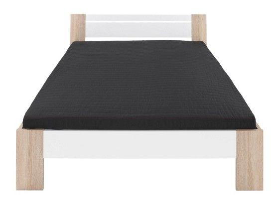 Futon ágykeret, fehér és Sonoma tölgy dekor kerettel, fekete színű rugós matraccal és ágyráccsal kapható, fekvőfelülete:140/200cm