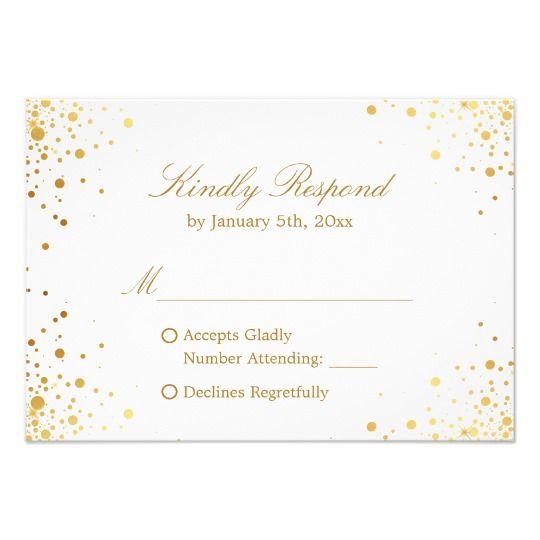 Modern Gold Confetti Dots Wedding RSVP Reply Card