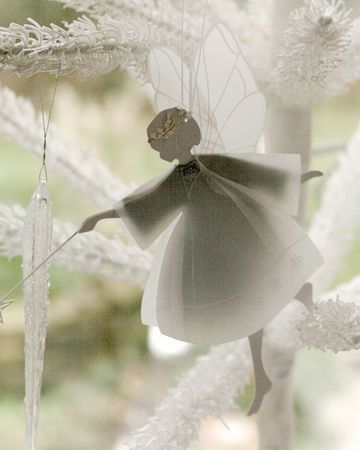 Dainty cardboard cut-out snow fairy with fabric dress and glitter halo
