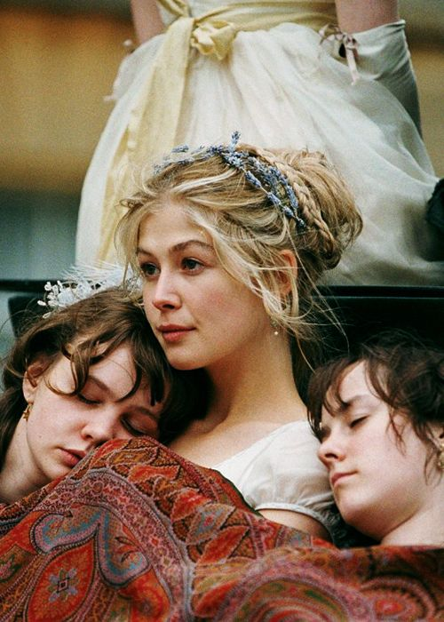 Pride and Prejudice 2005  Rosamund Pike, Jena Malone, and Carey Mulligan