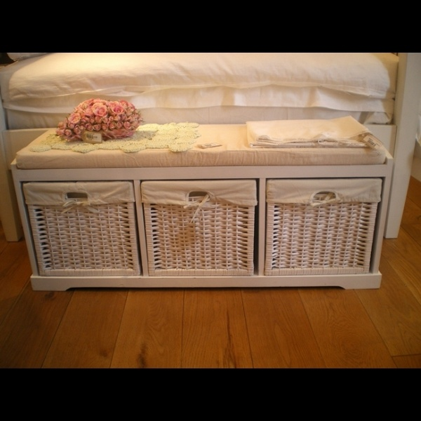 Shabby chic white shoe storage bench with seat pad use for dirty laundry instead of shoes at - Seat at foot of bed ...