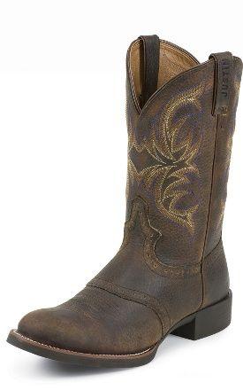 Justin Boots - Stampede Cattleman - Dark Brown Rawhide w/ Saddle - #7200