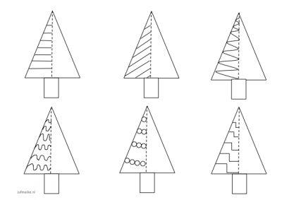 Kerstboom patronen en schrijfoefening