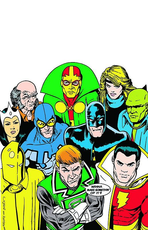 The original JUSTICE LEAGUE #1 cover by Kevin Maguire, so often replicated.