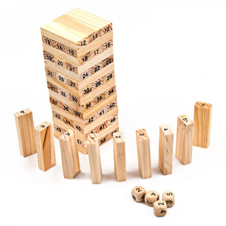 2016 New Wooden Tower Wood Building Blocks Toy Domino 54 +4pcs Stacker Extract Building Educational Jenga Game Gift