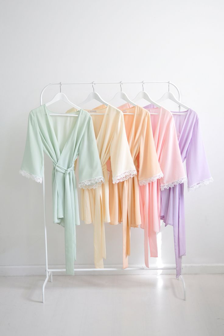 Val bridesmaids robes kimonos silk & lace in Spring pastel colors from http://www.girlwithaseriousdream.com