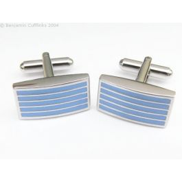 Four Line Blue Cufflinks - Rhodium plated cufflinks featuring four enamel stripes in a light blue colour.  Very simple and very smart.