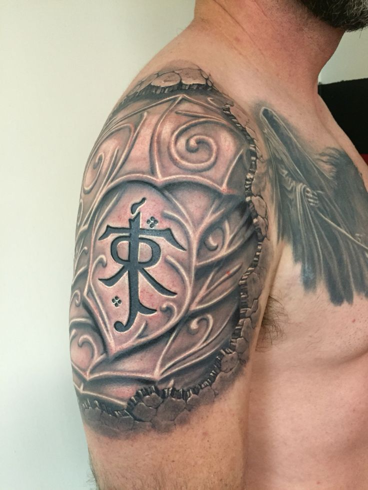 My finished lord of the rings, JRR Tolkien, Elvish Armor Tattoo.