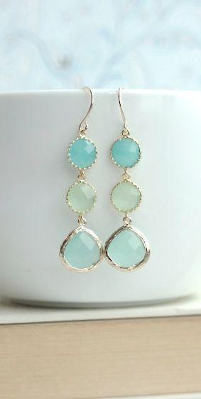 Shades of Mint Green Drop Dangle Earrings. Mint Opal, Lime Green, Light Mint Glass Drop Dangle Long Earring. Wedding Bridal Bridesmaid Gifts by Marolsha - https://www.etsy.com/listing/182171811/shades-of-mint-green-drop-dangle?ref=shop_home_active_8