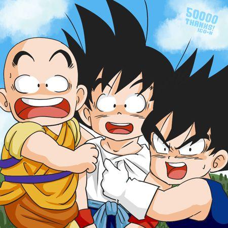 Training Trio by nuooon.deviantart.com #DBZ - Dragon Ball AU - Chibis Krillin, Goku, and Vegeta.