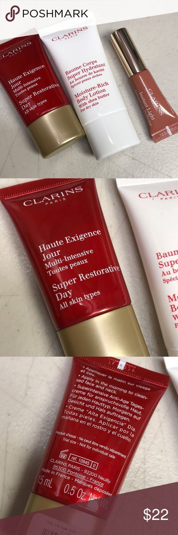 Clarins lip perfector eclat day cream body lotion Set of three Makeup Bronzer